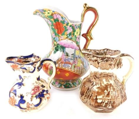 A Mason's Ironstone Mandalay pattern jug, a Vista pattern brown glazed jug and a modern Chinese jug. (3)