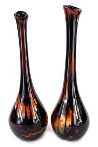A pair of Art glass bottle shaped vases, in gilt brown and brown glittered inclusions, etc., 47cm and 48cm high respectively.