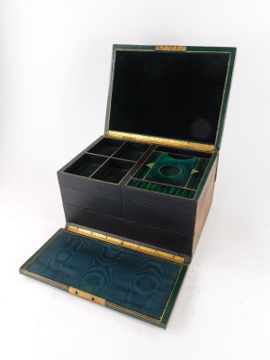 A Victorian walnut jewellery box, with an inset engraved brass handle to the hinged lid, the interior lined in leather and fitted with velvet hinged compartments and with a Bramah lock, 30cm wide. - 2