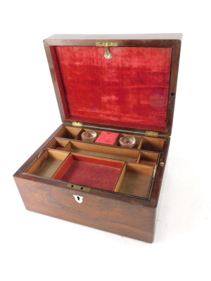 A Victorian rosewood workbox, the hinged lid with a vacant shield shaped cartouche enclosing fitted interior with two scent bottles, removable tray, etc., 30cm wide. - 2
