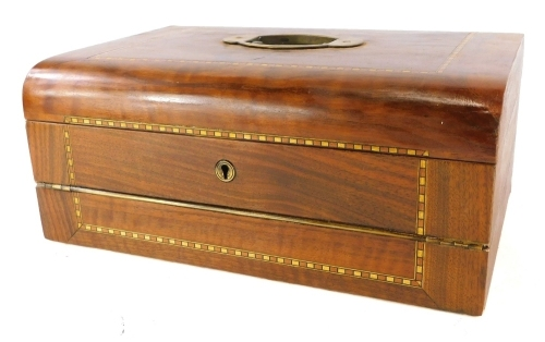 A Victorian walnut and chequer banded writing box, the hinged lid enclosing a fitted interior, with a letter rack, etc., 37cm wide.