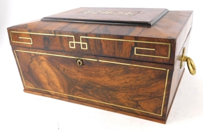 A 19thC rosewood and brass inlaid workbox, the hinged lid enclosing a vacant interior with gilt side handles, 38cm wide.