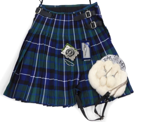 A gentleman's tartan kilt, with sporran, the kilt size 30-32, and a pewter kilt pin, modelled in the form of stag.