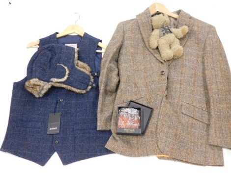 Harris Tweed related items, to include a jacket size small, a blue Harris Tweed waistcoat, similar hat, hip flask and a teddy bear. (4)