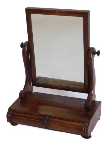 A 19thC mahogany dressing table mirror, with a rectangular plate on shaped supports, the base with two frieze drawers, 39cm wide.