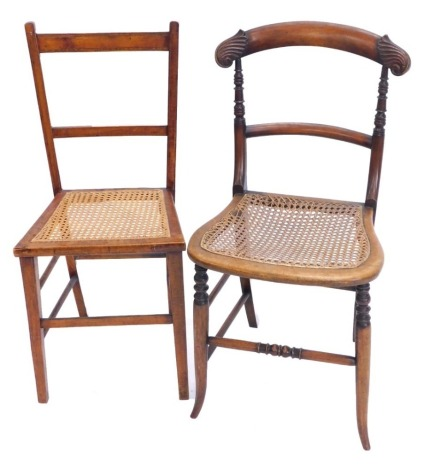 A Victorian carved mahogany bedroom chair, with a cane seat on splayed legs, and an Edwardian bedroom chair. (2)