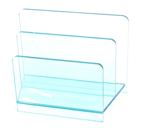 A modern two section glass magazine rack or Canterbury, 45cm wide.