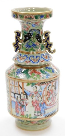 A 19thC Chinese Canton porcelain baluster vase, decorated with panels of ladies at leisure, the everted neck with ear handles, the background with flowers, ruyi fungus and butterflies on a celadon ground, 23cm high. (AF)