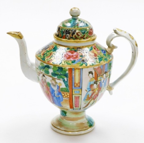 A 19thC Chinese Canton porcelain teapot, of ovoid form, the body with a continuous band of figural decoration, below butterflies and flora on a gilt ground, the domed lid with spherical knop,22cm high. (AF)
