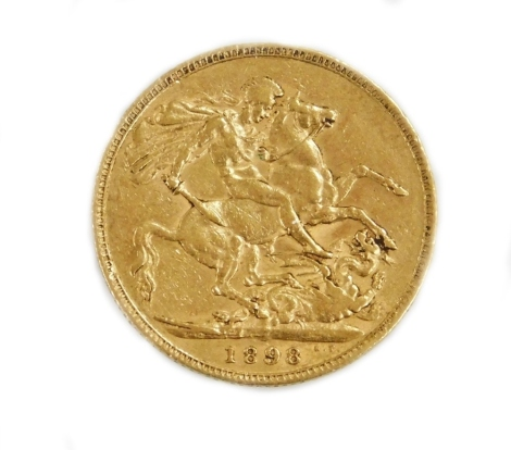 A Victorian full gold sovereign dated 1898.