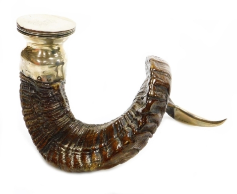 A George V ram's horn silver table snuff mull, the lid bearing crown and initials WE, with two interlinked crossed sword shield, with silver foot, top and cap end, Sheffield 1919, 19cm high, 30cm wide.