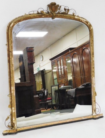 A Victorian gilt gesso overmantel mirror, 159cm high, 138cm wide. (AF)