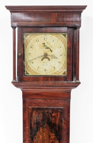 Rogers of Dudley. George III mahogany longcase clock, with a painted rectangular dial with fan and bird design, with an arched top above single door, on block base, 30 hour movement with pendulum and weight, 197cm high, 49cm wide, 22cm deep.