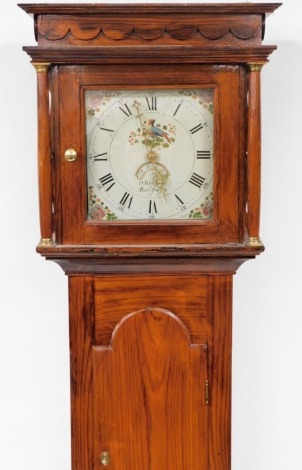 D Rowrand of 'Aberistwith'. A 19thC and later longcase clock, in a stained pitch pine case with a painted dial depicting birds and flowers, 30 hour movement, with pendulum and weight, 201cm high, 44cm wide, 23cm deep.