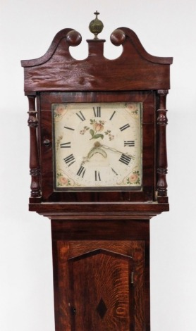 John Matthews of Leighton Buzzard. A George III mahogany longcase clock, with a painted white dial, with a swan pediment neck and single door, with pendulum, 204cm high, 48cm wide, 21cm deep.