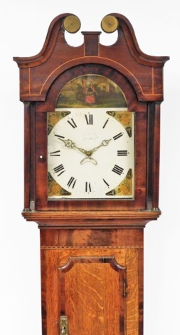 A George III oak cased longcase clock, with a painted dial and arched pediment hood above single door, with 30 hour movement with pendulum and weight, 217cm high, 46cm wide, 21cm deep.