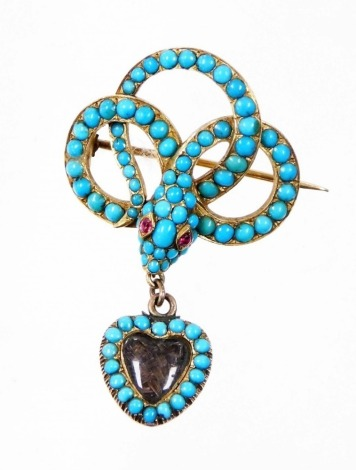 A Victorian turquoise snake brooch, the brooch top with intertwined snake, with turquoise beads and garnet eyes, with a heart shaped memorial locket panel, with reverse inscription Forget Me Not, the snake stamped G.F.T from E.G, yellow metal unmarked, 3c