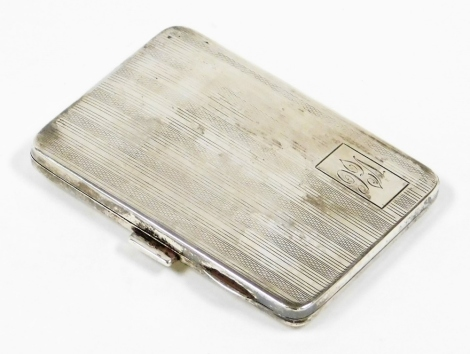 A George V silver cigarette case, with engine turned decoration and crest bearing the initials VEC, Birmingham 1926, 2½oz.