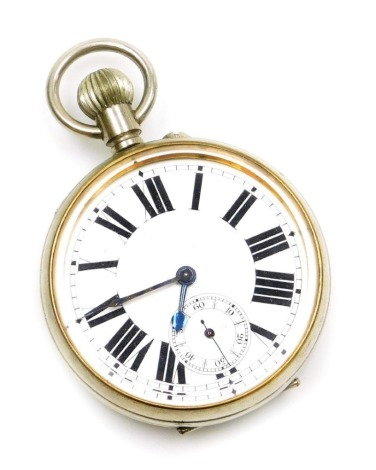 A silver plated cased Goliath pocket watch, with white enamel dial and Roman numerals, with seconds dial and blue hands, bezel wind, 6cm diameter.