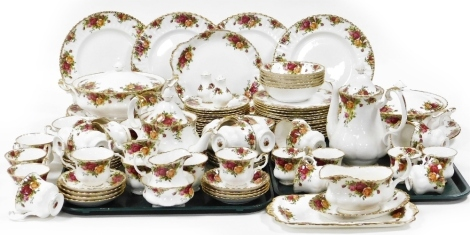 A group of Royal Albert Old Country Roses tea and dinner wares, comprising coffee pot, teapot, tureens and lids, salt and pepper shaker, small milk jug, sugar bowl, rectangular tray, gravy boat and saucer, nineteen teacups, eighteen saucers, one condiment