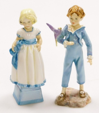 Two Royal Worcester figures, to include Monday's Child Is Fair Of Face, 17cm high, and a Parakeet, 18cm high. (2)