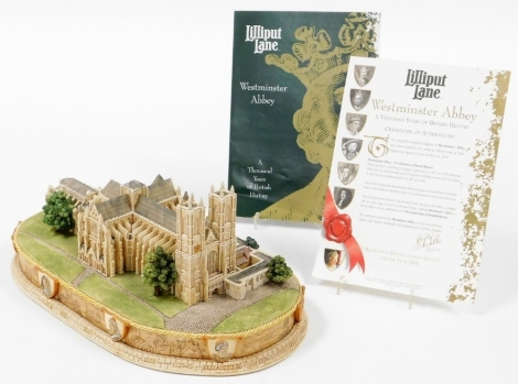 A Lilliput Lane Britain's Heritage Series Westminster Abbey model, code number 1,2285, dated 2000, with certificate, 30cm wide.
