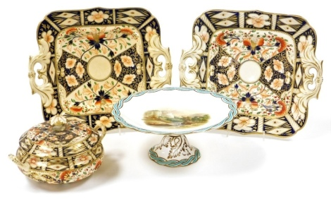 A group of ceramics, to include a late 19thC cake plate, with turquoise and gilt borders, with a central cliff and river scene, inscribed Matlock High Tour Derbyshire, numbered 795, 9cm high, together with two Imari pattern cake plates and a jar and cover