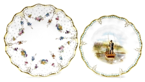 Two Royal Crown Derby cabinet plates, to include Royal Antoinette LIV, and another with turquoise and gilt borders depicting fishermen, 25cm and 22cm diameter respectively.