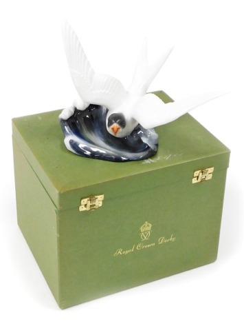 A Royal Crown Derby porcelain figure of a Tern, signed K.Wood, 17cm high, boxed.