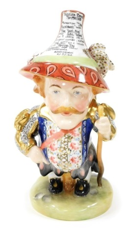 A Royal Crown Derby Mansion House dwarf, with the Theatre Royal Haymarket inscription to the hat and signed J.Brian, 19cm high.