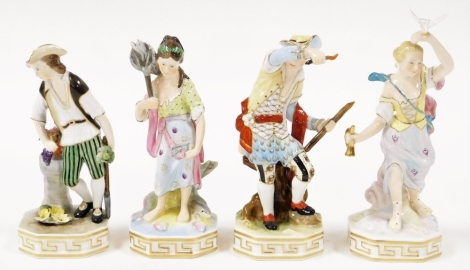 A set of four Derby Elements porcelain figures, depicting Earth, Water, Air & Fire, each with Stevenson & Hancock marks together with two marked J Gould and two marked C Tompkinson, 20cm high. (8)