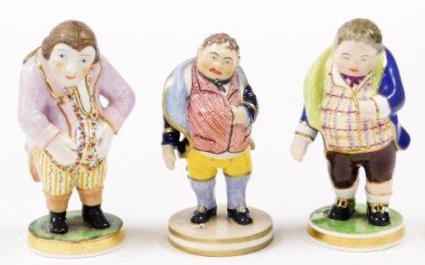 Three Derby figures of gentlemen, each in waistcoat with pot bellies one bearing orange crest to underside, another marked 1st figures fired Jan 1916 W.Larcombe, and another King Street, Stevenson & Hancock, circa 1863-1866, 10cm high. (3)