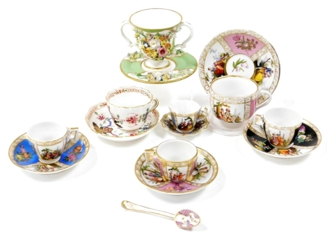 Cabinet cups and saucers, to include five Dresden cups and saucers, one Meissen and a Derby green and floral encrusted loving cup and saucer circa 1820's. (7)
