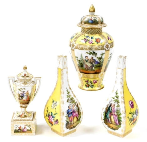 Four Helena Wolfsohn style ceramics, comprising two bud vases, each in yellow and white with heavily decorated panels with figures and flowers, Augustus Rex mark, 23cm high, a similar designed Meissen urn and cover, 20cm high, and a ginger jar and cover,