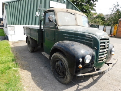 A 1955 Ford Thames SWB lorry, registration VSV 489, twin axle historic vehicle with boarded flat bed, green, first or re-register date March 1986 after restoration project, odometer reading 8,664, tax expired 1st April 1997, with V5 present. - 16