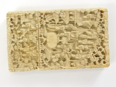 A 19thC Chinese carved ivory card case, decorated with figures, buildings, bridge, flowers, etc., 11cm high, 6.5cm wide. - 2