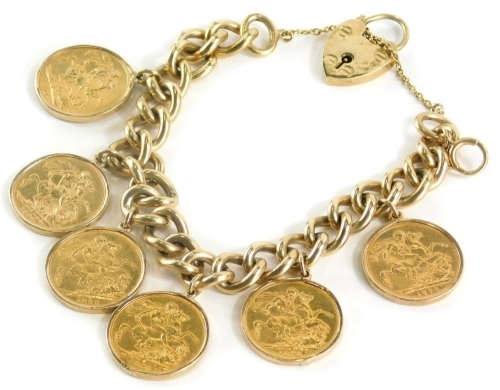 A yellow metal curb link bracelet with 9ct gold lock, set with six full gold sovereigns for 1897, 1898, 1899, 1898, 1898, and 1895, 96.3g all in.