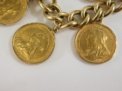 A yellow metal curb link bracelet with 9ct gold lock, set with six full gold sovereigns for 1897, 1898, 1899, 1898, 1898, and 1895, 96.3g all in. - 2