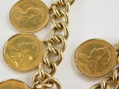 A yellow metal curb link bracelet with 9ct gold lock, set with six full gold sovereigns for 1897, 1898, 1899, 1898, 1898, and 1895, 96.3g all in. - 3