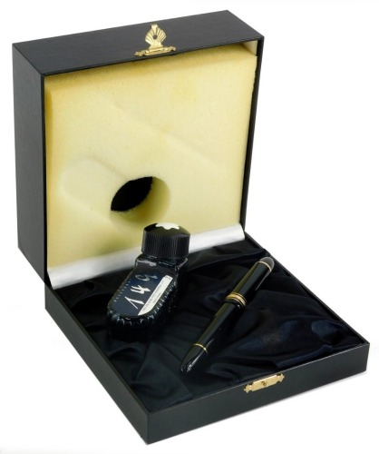 A Montblanc Meisterstuck 149 black fountain pen, in original fitted case with ink, the case 17cm wide.