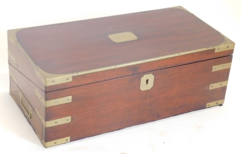 A 19thC mahogany and brass bound campaign writing box, the rectangular top engraved with cartouche EJ Moore.