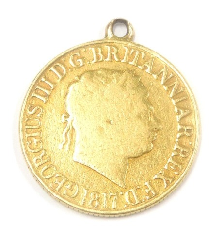 A George III 1817 full gold sovereign, 7.8g gross.