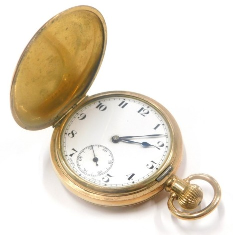 A Star Dennison gold plated hunter pocket watch, with white enamel dial, blue hands, cased.
