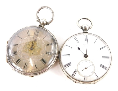 Two silver fob watches, to include a Port House London silver cased pocket watch, and a Victorian silver pocket watch bearing the inscription E Terry 29th March 1814, key wind, 92.8g all in. (2)