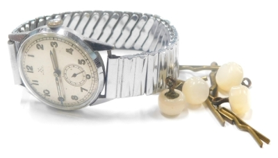 A HAC gentlemans wristwatch, with silvered colour dial, seconds dial and cream painted hands with cross sword mark, marked HAC and to the reverse Boden Edelstahl, on an expanding stainless steel strap.