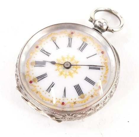 A silver fob watch, with white enamel dial with Roman numerals, with gilt detailing set with stones, in a heavily embossed case with vacant shield, key wind, 32.8g all in.