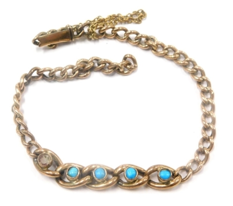A turquoise set bracelet, with five central large curb link section, each set with turquoise on curb link bracelet, with slide in clasp, yellow metal, stamped 9ct, 5.3g all in. (AF)