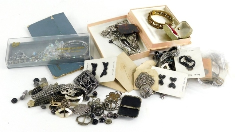 A group of jewellery and effects, Victorian style steel jewellery, marcasite set jewellery, bangles, necklaces, tortoise shell loop, etc. (1 tray)