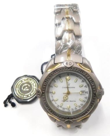 A Claude Valentini Premier Sports gentlemans wristwatch, in fitted case.
