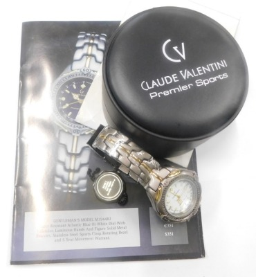 A Claude Valentini Premier Sports gentlemans wristwatch, in fitted case. - 2